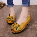 Casual Leather  Flat Shoes Flower Loafers