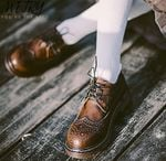Leather Oxford Shoes British Style Lace up Round