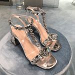 Crystal Sandals Hot Silver Buckle Strap Shoes