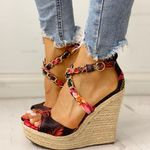 High Heels Wedges Platform Silk Sandals