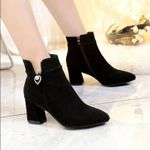 Ankle Shoes Boots Fashion High-heeled Flock Short