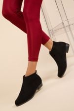 Camel Black Ankle Boots Low Heel High