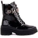 Guja-Black Zipper Metal Decoration Boots
