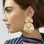 Design Shiny Big Metal Earrings Bright Gold Color