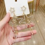 New Korean Crystal Star Pearl Tassel Long Drop Earrings