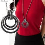 Luxury Black Cubic Zirconia Multilayer Circle