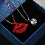 Sexy Rhinestone Red Lips Necklace Silver Two
