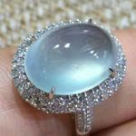 Luxury Big Blue Oval Moonstone Ring