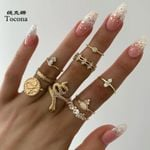 Luxurious Gold Rings Hard Clear Crystal Stone
