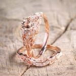 Zircon Engagement Rings Rose Gold Color Wedding