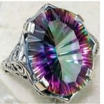 Vintage Alloy Ring Oval Cut Mystic Rainbow Color