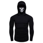 Mask Skull Pure Color Pullover Long Sleeve Hooded