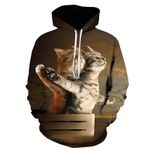 Hoodie hip hop Sweatshirt double cat print