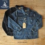 High Quality Denim Striped Jacket Railway Tooling