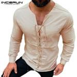 T Shirt Vintage V Neck Lace Up Solid Color Streetwear