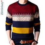 brand casual warm pullover knitted striped sweater