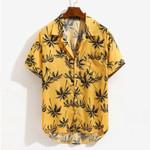 Shirt Loose Beachwear Hawaii Palm Tree Print Short Sleeve