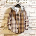 Casual Brand With Hooded Plaid Shirt Shirts Long Sleeves