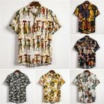 Ethnic Style Print Linen Shirts Short Sleeve