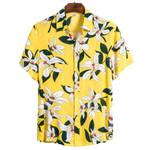 New Casual Shirts Print Hawaiian Shirt Yellow Short Sleeve