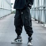 Black Cargo Pants Hip Hop Loose Pants