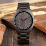 Watches Clock Casual Light Ebony Wood