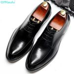 Wedding Black Wine Red Lace Up Oxford Shoes