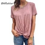 New O neck Front Knot Casual Tee Shirt T-shirt