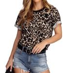 Fashion Leopard O Neck T Shirt Short Sleeve Casual