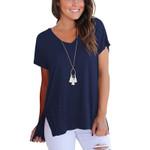 T-Shirt Short Sleeve Basic Solid Shirt Cotton