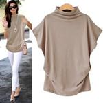 t-shirt Solid Cotton Linen Turtleneck Short Sleeve