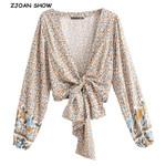 New Bohemian  Sun Flower Print Kimono Shirt Batwing Sleeve