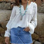 Blouse Spring Casual Loose V Neck Long