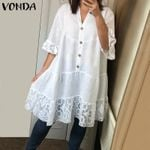 Sleeve Blouses Casual V Neck Button Solid