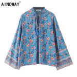Vintage chic blue floral  print rayon bohemian beach  blouse