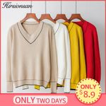 Sweater V-neck Knitted Pullover Soft Basic