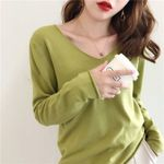 Casual Knitted Sweater Long Sleeve V-neck