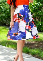 High Waist Floral Print Vintage Office boho skirts