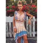 asymmetric ruffled floral print boho skirt