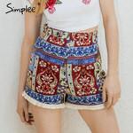 Fringe ethnic flower Zipper boho shorts