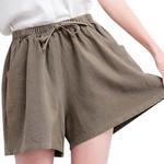 Cotton Linen Elastic Waist Pockets boho shorts