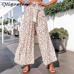 dot print Casual high waist wide leg boho pants