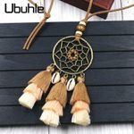 Ethnic Tassel Long Rope Chain Shell Pendant Necklace