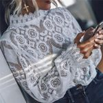 Lace Elegant Formal Embroidery Long Sleeve Blouses