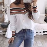 Casual Multicolor Long Sleeve Off Shoulder Top Blouse