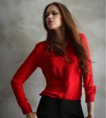 Button Solid Long-sleeve Chiffon Blouses