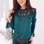 Sweet Hollow Out Flower Blouse