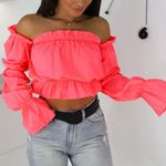 Candy Color Off Shoulder Crop Tops Sexy blouse