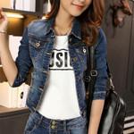 Blue Long Sleeve Slim Tops Denim Jacket
