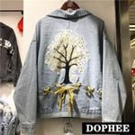 Embroidered Loose Bow Ripped Embroidery Flower Denim Jackets